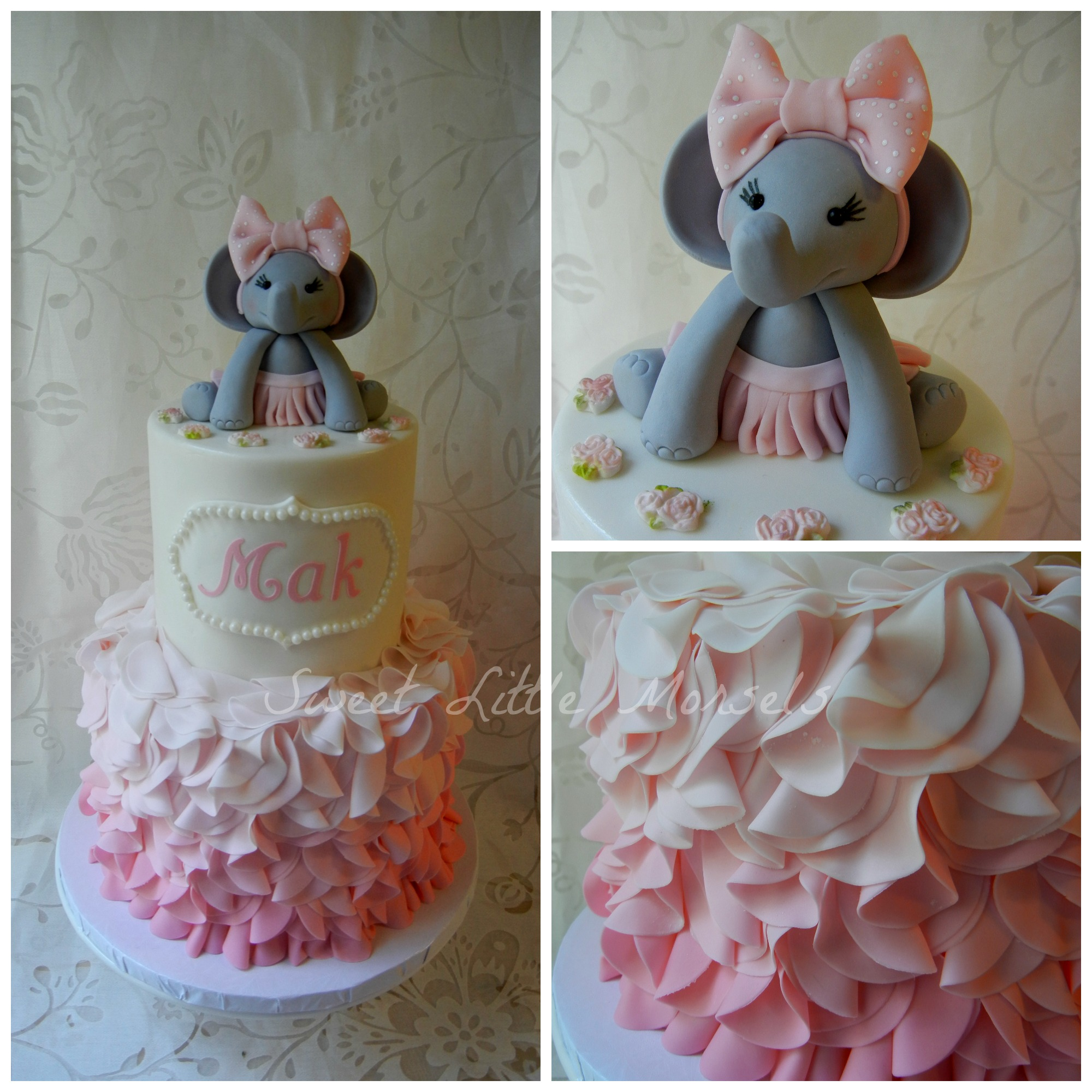 Baby shower ideas pink and gray elephant themed baby shower for Baby girl baby shower decoration ideas